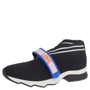 Fendi Black Knit Fabric Rockoko Sneakers Size 37