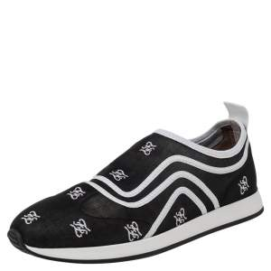 Fendi Black/White Mesh And Leather Freedom Logo Embroidered Slip On Sneakers Size 38