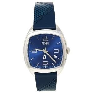 Fendi Blue Stainless Steel Leather Momento 22000L Unisex Wristwatch 39 mm