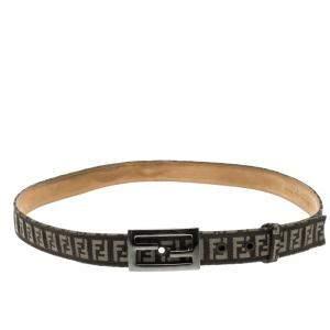 Fendi Brown Zucchino Canvas FF Buckle Belt 105cm