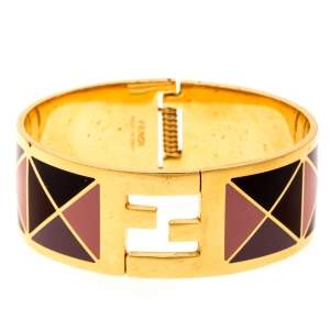 Fendi The Fendista Multicolor Geometric Enamel Gold Tone Wide Bracelet M