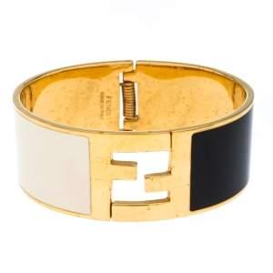 Fendi Fendista Black White Enamel Gold Tone Wide Bracelet M