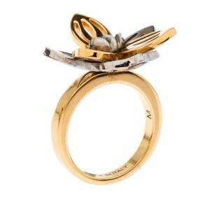 Fendi Two Tone Floral Ring M