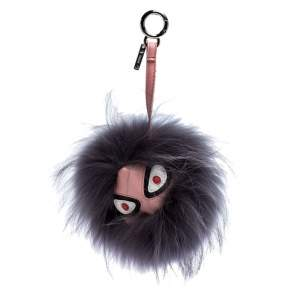 Fendi Grey Fur Strangee Leather Bag Bugs Charm