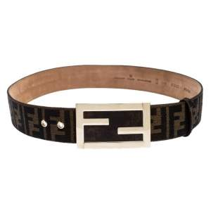 Fendi Brown Zucca Canvas FF Buckle Belt 90CM