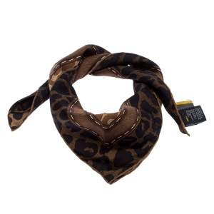 Fendi Brown Leopard Print Silk Square Scarf