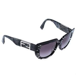 Fendi Black Clear Zebra Print FF 0031/F/S Rotational Temple Embellished Sunglasses