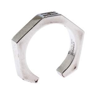 Fendi Silver Tone Baguette Ring Size 55