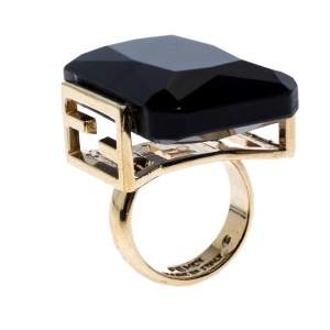 Fendi Black Crystal Embedded Gold Tone Cocktail Ring Size EU 47