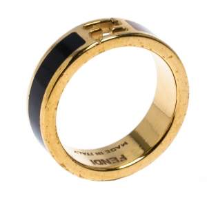 Fendi The Fendista Bi-color Enamel Gold Tone Band Ring Size 54.5