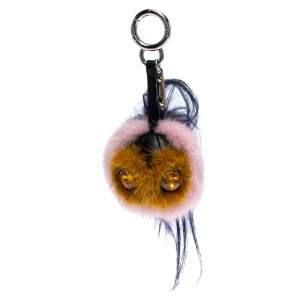 Fendi Multicolor Mink Fur Crystal Embellished Bag Charm