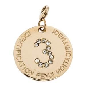 Fendi Crystal Embedded Identification Silver Tone Pendant Charm