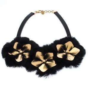 Fendi Black/Gold Floral Embellished Leather and Mink Fur Choker Necklace