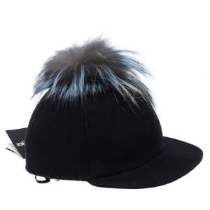 Fendi Black Wool Fox Fur Trim Baseball Cap M