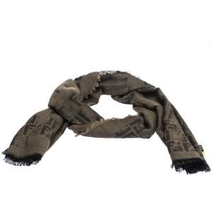 Fendi Brown Distressed Zucca Patterned Wool Blend Scarf