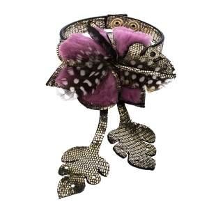 Fendi Fur Feather Flower Metallic Leather Statement Bracelet