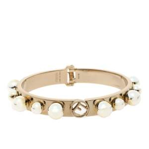 Fendi Metal Bead Embellished Two Tone Bracelet S