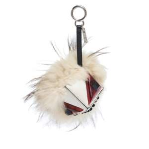 Fendi Mulitcolor Fox Fur and Leather Eye Studded Cube Monster Bag Charm