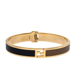 Fendi Fendista Enamel Gold Tone Hinged Bangle Size M