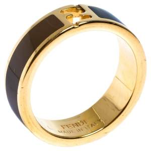 Fendi The Fendista Bi-color Enamel Gold Tone Band Ring Size 59