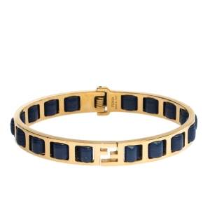 Fendi Gold Tone Blue Leather The Fendista Bangle Bracelet L