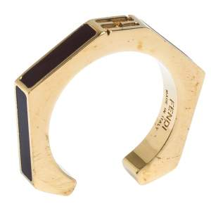 Fendi Polished Burgundy Gold Tone Baguette Ring M