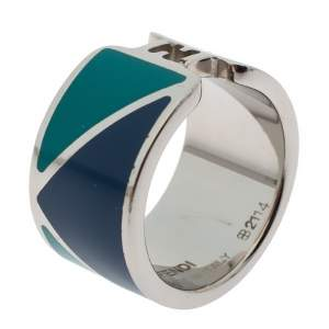 Fendi The Fendista Bicolor Enamel Silver Tone Band Ring M