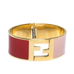 Fendi Fendista Bi-Color Enamel Gold Tone Wide Bracelet M