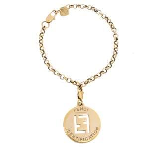 Fendi FF Identification Charm Gold Tone Chain Link Bracelet