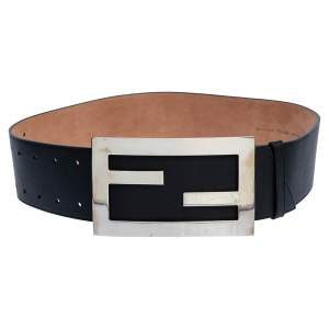 Fendi Black Leather FF Buckle Waist Belt 85CM