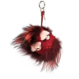 Fendi Red Fur Crystal Monster Bag Charm