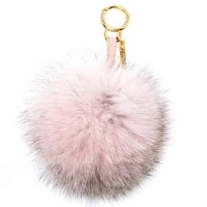 Fendi Beige/Pink Fox Fur Pom Pom Bag Charm