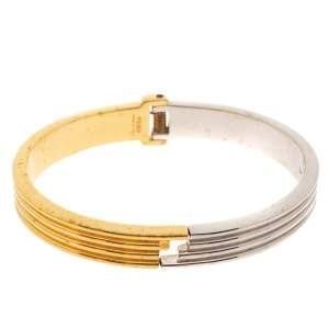 Fendi Two Tone Ribbed Cuff Bracelet M