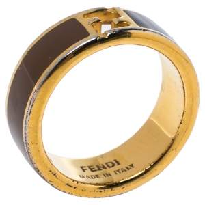Fendi The Fendista Bi-color Enamel Gold Tone Band Ring S