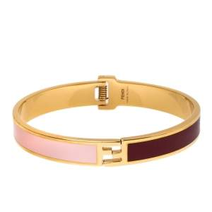 Fendi The Fendista Bi-color Enamel Gold Tone Bracelet S