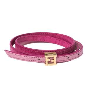Fendi Pink Leather Multi Wrap Crayons Bracelet