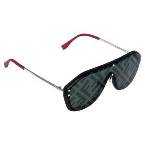 Fendi Black & Red/ Green Logo Mirrored FFM0039 Fabulous Shield Sunglasses