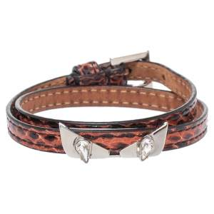 Fendi Brown Snakeskin Wonders Double Wrap Bracelet