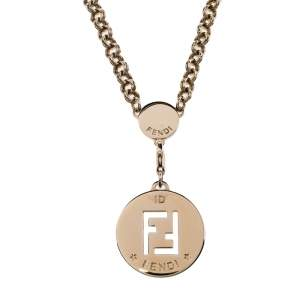 Fendi Collana Identification FF Gold Tone Pendant Necklace