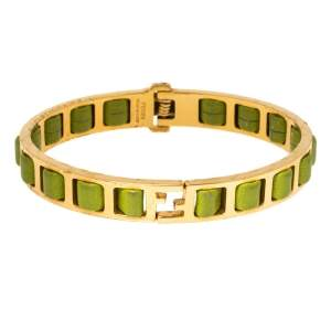 Fendi Fendista Logo Green Woven Leather Gold Tone Bangle Bracelet
