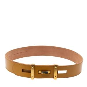 Fendi Mustard Cut Out Leather Belt 85CM