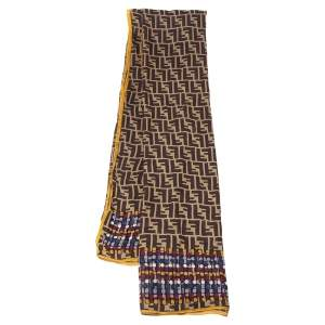 Fendi Brown Zucca Polka Dot Silk Scarf