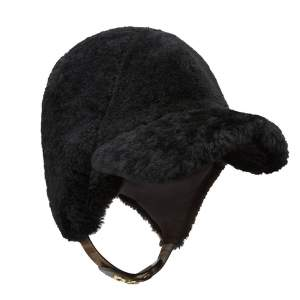Fendi Black Shearling Silk Lined Visor Hat