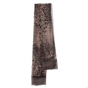Fendi Leopard Print Zucca Silk Scarf