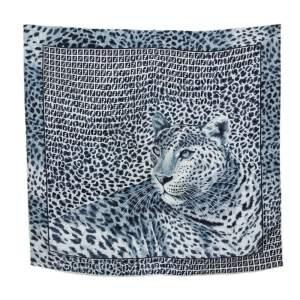 Fendi Blue Leopard Print Silk Scarf