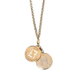 Fendi Crystal Letter Charm & ID Tag Pendant Rolo Chain Necklace