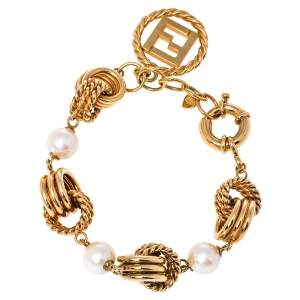 Fendi Gold Tone Triple Layered Link Faux Pearl Bracelet