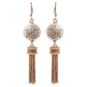 Fendi Gold Tone Crystal & Faux Pearl Tassel Earrings