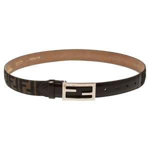 Fendi Tobacco Zucca Canvas FF Buckle Belt Size 95