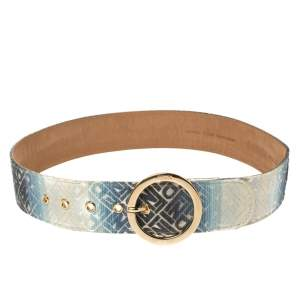 Fendi Blue/White Ombre Canvas Round Buckle Belt Size 80